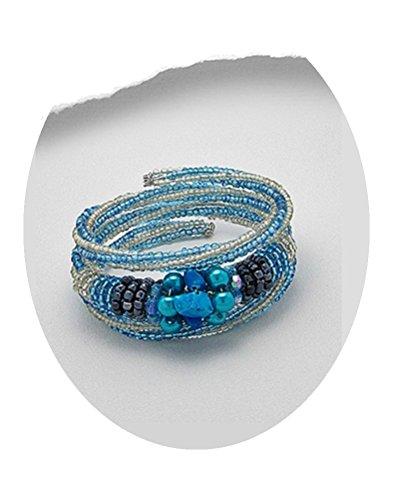 Spiral Bracelet Bead, Stone & Pearl (#66) (Teal Blue) (Pearl Spiral Bracelet)