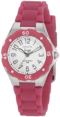 Invicta Women's 1614 Angel White Dial Plum Silicone Watch - Beige Dial Rubber Strap