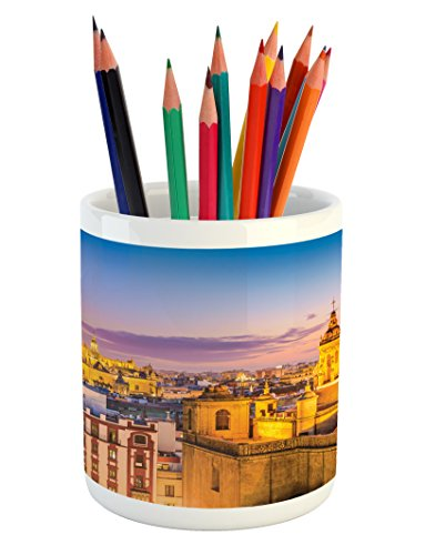 Lunarable European Pencil Pen Holder, City Skyline of Spain Ancient Mediterranean Touristic Historical Nostalgic Print, Printed Ceramic Pencil Pen Holder for Desk Office Accessory, Multicolor by Lunarable