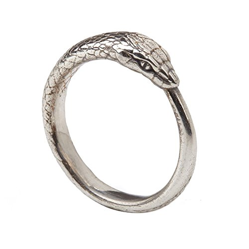 Panache Exports 10k Solid White Gold Ouroboros Snake Ring For unisex ()