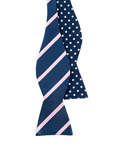 The Tie Bar 100% Silk Navy and Pink Rimmed Trad Reversible Self-Tie Bow Tie (Reversible Bow Tie)