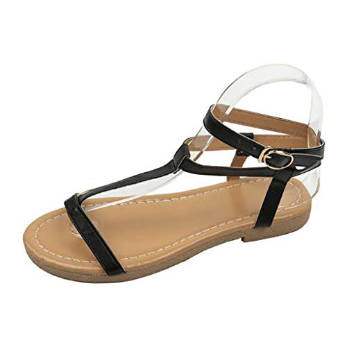 New in Respctful✿Womens Strappy Sandals Open Toe Thong Ankle Strap Summer Beach Shoes Casual Buckle Flats Sandal Black