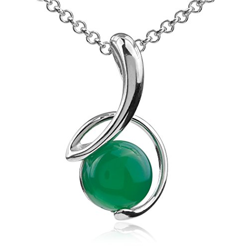 Ian and Valeri Co. Green Agate Sterling Silver Round Pendant Necklace Chain 18