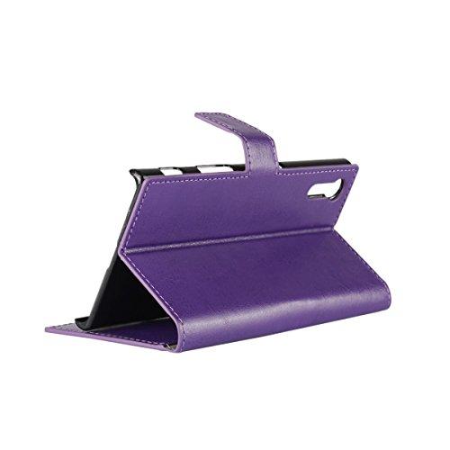 Xperia XZ funda,COOLKE Retro PU Cuero con Ranuras Leather de Wallet Carcasa Piel With Card Pouch Stand de protección Funda Tapa Case Cover para Sony Xperia XZ - Rojo Púrpura