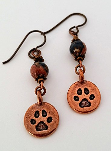 Handcrafted Paw print Charm Earrings Cat Dog Copper Plated Paws Hypoallergenic Niobium Ear Wires