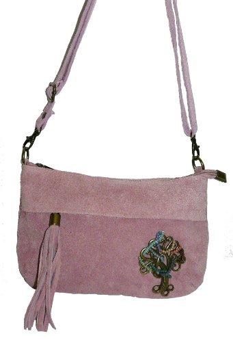 Frau Handtasche Quertasche Angesichts Leder rosa
