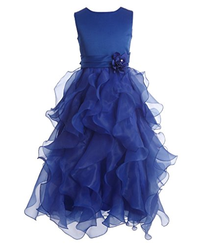 [FAIRY COUPLE Girl's Ankle Length Cascading Layered Pageant Party Dress K0172 8 Royal Blue] (Fairy Dress For Kids)