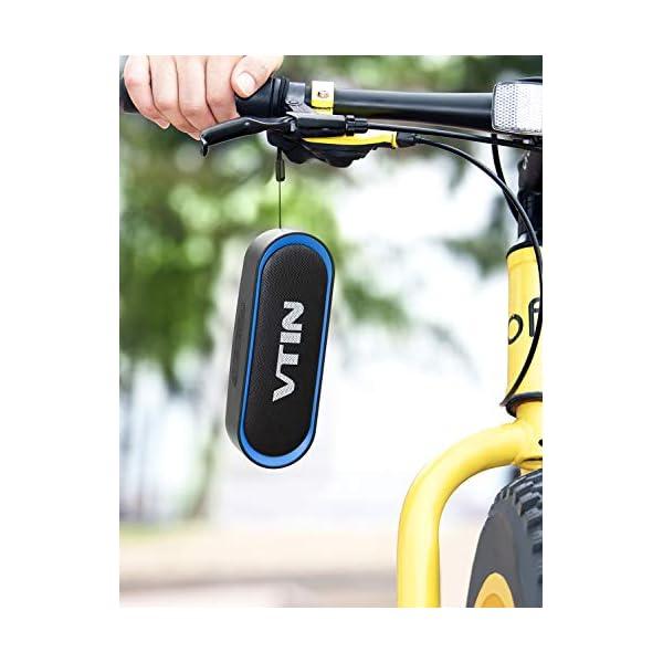VTIN R4 Enceinte Bluetooth V5.0, Haut Parleur Bluetooth Portable 10W, Haut-Parleur Waterproof, 24H de Lecture, avec Microphone, Support AUX/TF, pour Téléphone Portable, Tablette, MP3, Soirée, Voyage 7