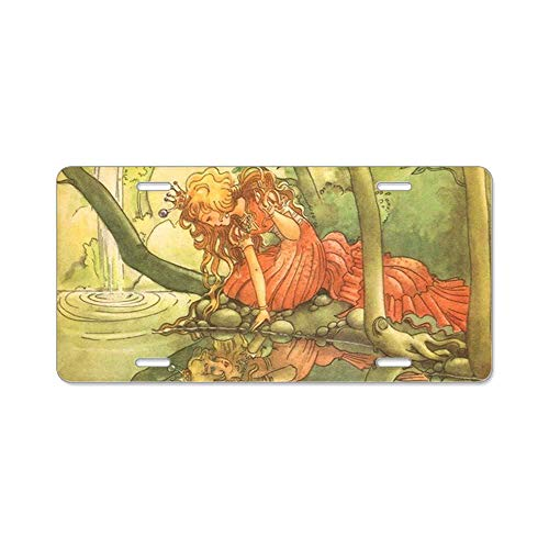 - AhuiA-Vintage Fairy Tale Princess Gifts Custom Personalized Aluminum Metal Novelty License Plate Cover Front Auto Car Accessories Vanity Tag- 6x12 Inches