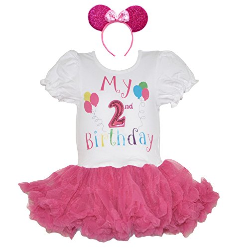 [Birthday Dress Sequined Age Number Fuchsia Ruffle Skirt & Headband Set (Age 2-FH)] (Mother And Infant Daughter Costumes)