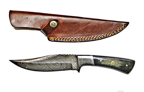 Titan International Knives Damascus Steel Hunting Knife with Leather Pouch
