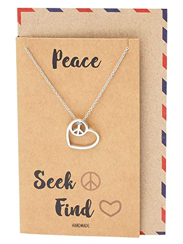 Quan Jewelry Gifts for Women, Love Heart Peace Sign Pendant Necklace, Handcrafted Jewelry in Silver Tone with Inspirational Greeting ()
