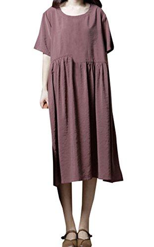 Sommer Damen Midi Kleid Bequeme Freizeit Locker Einfarbig Shirt Kleider Strandkleider Mode Rundhals Kurzarm Kleid Blusenkleider Partykleider Abendkleider Braun
