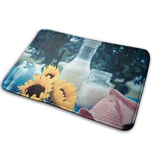 Kui Ju Non-Slip Doormat Entrance Rug Fade Resistant Floor Mats Glass of Milk Shoes Scraper 23.6x15.7x0.39Inch -