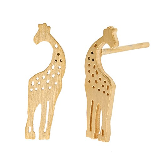 HUAN XUN Tiny Animal Giraffe Stud Earrings - Stainless Steel Gold Color for Girls
