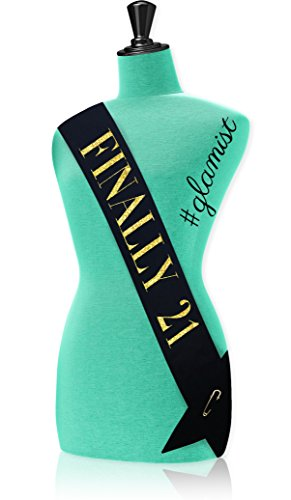 #glamist Finally 21 Birthday Sash - The perfect choice for your 21st birthday! Gold Glitter Imprint with GoldGloss Safety Pin Closure. Here's to (International Silver Golden Tiara)