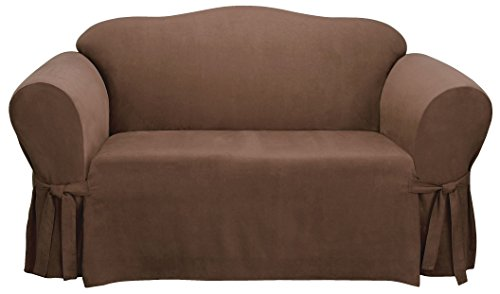 Sure Fit Soft Suede 1-Piece  - Sofa Slipcover  - Chocolate (SF34541)