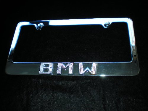 BMW License Plate Frame Chrome Iced Out Swarovski Crystals Iced Out Emblems
