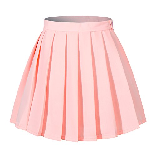 Women`s High Waist Slim mini short over knee length Pleated Skirts(XL,Pink)