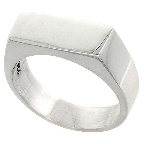 Sterling Silver Signet Ring for Men Small Rectangular Solid Back Handmade 3/4 inch, size - Big Rectangular Ring