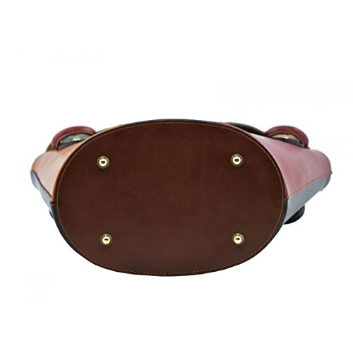Borsa A Mano In Vera Pelle Multicolor Colore Marrone - Pelletteria Toscana Made In Italy - Borsa Donna