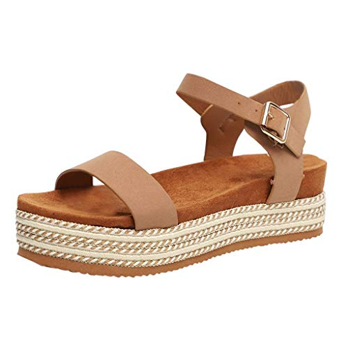 Wobuoke Casual Women's Flatform Espadrilles Ankle Strap Buckle Open Toe Faux Leather Wedge Summer Sandals Khaki
