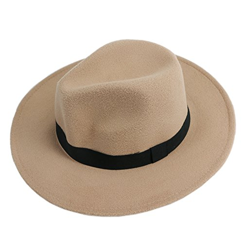Chunshop Men Women Jazz Bowknot Hard Felt Fedora - Felt Hats For Women Wide Brim