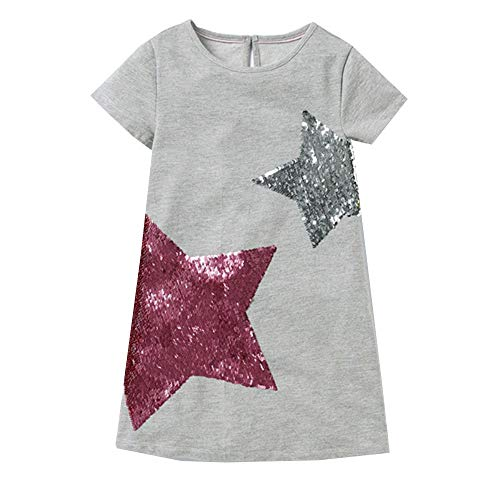 VIKITA Kid Girls Cute Flip Sequin Stars Long Sleeve Cotton Dress SMK777 7T130