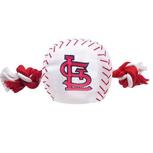 MLB SAINT LOUIS CARDINALS Baseball Rope Toy for DOGS & CATS. Tough nylon, Sporty Baseball Design, Heavy-duty ropes with Inner SQUEAKER
