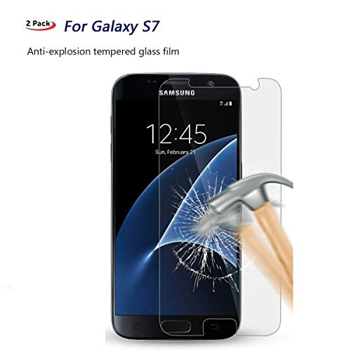 [2-Pack] for Galaxy S7 Screen Protector Tempered Glass,Misalas[9H Hardness][No-Bubble][Anti-Fingerprint][Scratch-Resistant] Glass Screen Protector for Samsung Galaxy S7