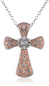 Sterling Silver Filigree Cross Diamond 0.02 cttw Pink Plated Pendant Necklace, 18""