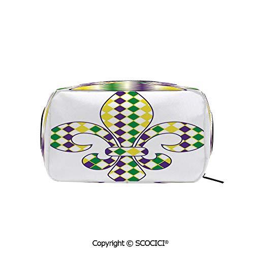 (Rectangle Printed Beauty Cosmetic Bag Pouch Ancient Fleur De Lis with Traditional Festival Pattern Venetian Vintage Decorative Women fashion Toiletry Travel Bag)