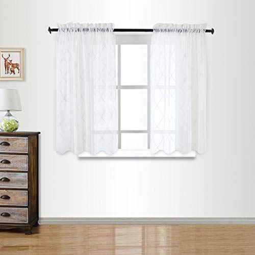 Cosics Sheer Curtain with Diamond Pattern (Size: 52x63 inch)