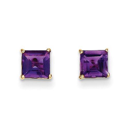 5mm Square Princess Amethyst Stud Earrings in 14k Yellow (Amethyst 14k Gold Post Earrings)