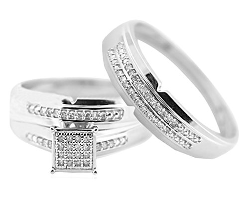 10K White Gold His and Her Rings Set - White Gold Trio Wedding Sets