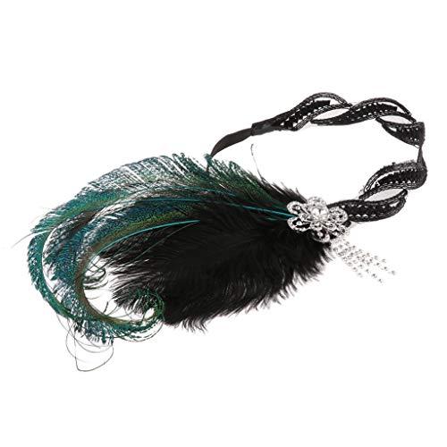 SM SunniMix Wedding Feather Headband 1920s Flapper Great Gatsby Rhinestones Headpieces Halloween]()