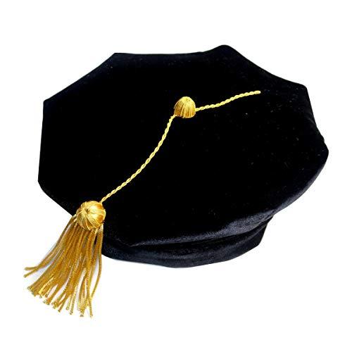 Fristaden Graduation Doctoral Tam, 8-Sided, Black Velvet Band, Gold Tassel, Sizes -