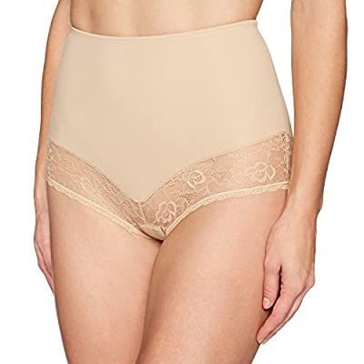 Brand - Arabella Women's Microfiber and Lace Smoothing Shapewear Brief: Clothing