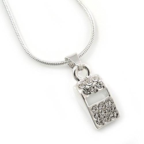 Small Crystal Blow Whistle Pendant With Silver Tone Snake Chain - 40cm Length/ 4cm Extension (Small Whistle Necklace compare prices)