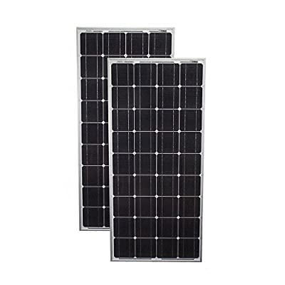 200 Watt Solar Panel Mono 2pc 100W Off Grid 12V RV Boat Home - 2 Pack - Mighty Max Battery brand product
