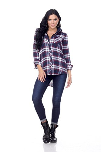 Ci Sono Womens Long-Sleeve Plaid Flannel Button Down Shirt With Sherpa Lining (Small, (Stella Chest)