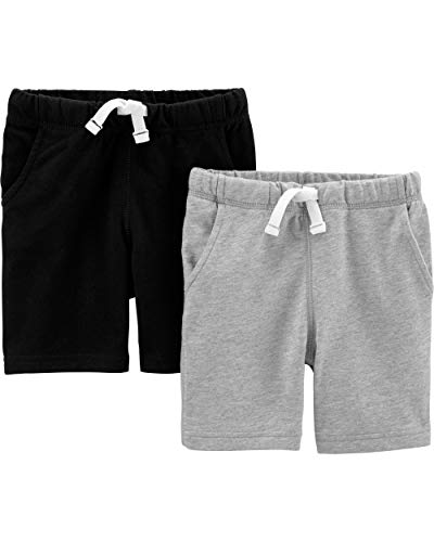Carter's Boys' Toddler 2-Pack French Terry Shorts, Black/Grey, 2T ()