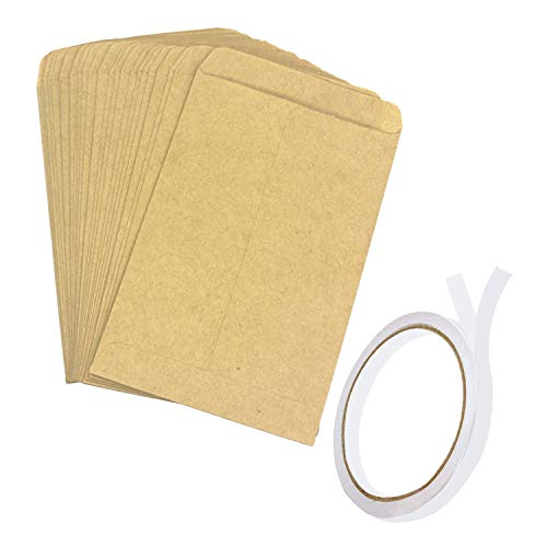Trasfit 150 Pack Seed Envelopes with Double Sided Adhesive Tape, Brown Kraft Coin Packets Mini Envelopes Seed Paper Bags for Home and Garden Use - 4.7x3.15Inches
