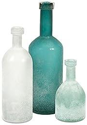 Kellen Glass Bottles Set Of 3, SET OF 3, FROSTED WHITE AQUA SOFT BLUE