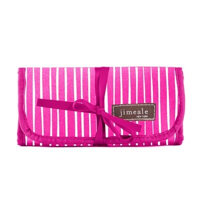 fuchsia-and-white-striped-jewelry-roll