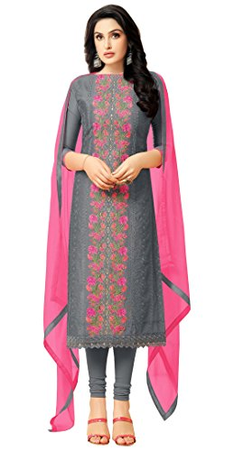 Rajnandini Charcoal Heavy Chanderi Embroidered Salwar Suit Dress - Suit Churidar