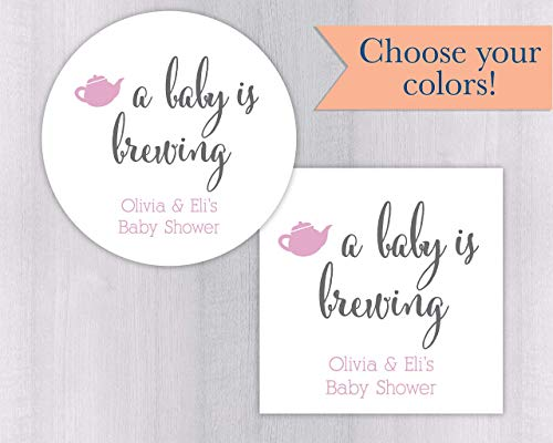 Baby is Brewing Shower Coffee or Tea Favor Stickers (#245-WH)