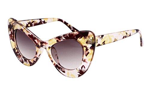 FEISEDY Cat Eye Retro Acetate Frame Polycarbonate Lenses Women Sunglasses - Frame Sunglasses Acetate