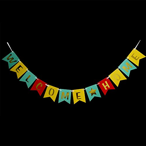 Hatcher lee Welcome Home Banner - Hanging Pennant Party Banner Decorations Blue Yellow Red (Welcome Back Home Baby)