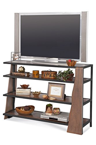 Philip Reinisch Wildwood Live Edge Industrial T Console Entertainment Display, Distressed Chestnut Finish/Matte Black ()